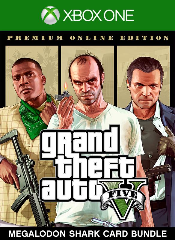 Lote de Grand Theft Auto V: Premium Online Edition y tarjeta Tiburón megalodón boxshot