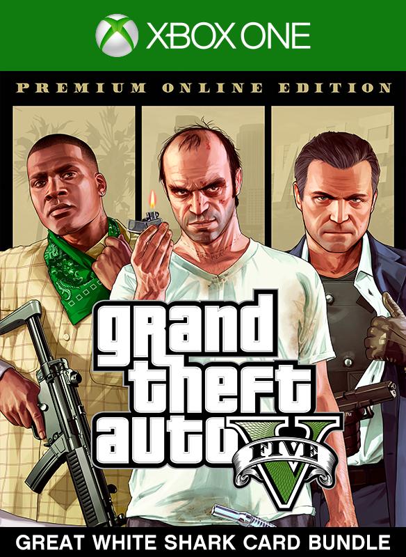 Lote de Grand Theft Auto V: Premium Online Edition y tarjeta Gran tiburón blanco boxshot